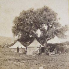 Fotografía antigua: 1 CARTON ESTEREO.MOUNT CARMEL ENCAMPMENT BY THE SEA. FRANK MASON GOOD. LONDRES . 8,5 X 17 CM.. Lote 235994775