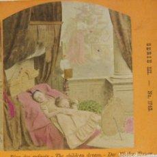 Fotografía antigua: 1 CARTON ESTEREO. RÊVE DES ENFANTS, EL SUEÑO DE LOS NIÑOS. 8,5 X 17 CM.. Lote 236112575