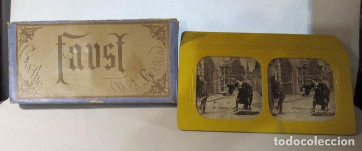 ESTUCHE. FAUSTO, FAUST. ADOLPHE BLOCK. LES THEATRES PARIS. DIORAMA VINTAGE ALBUMINA TISSUE. C. 1865 (Fotografía Antigua - Estereoscópicas)