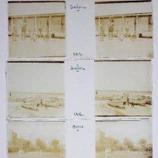 Fotografía antigua: SALOU - REUS. 1920'S. LOTE DE 5 CRISTALES POSITIVOS 10X4 CM.. Lote 238886095