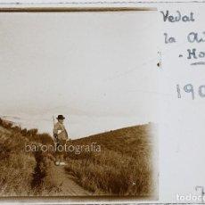 Fotografía antigua: VEDAT DE LA ADUANA - HORTA, BARCELONA. AÑO 1907. CAZA - CRISTAL POSITIVO ESTEREO 10X4 CM.. Lote 238887605