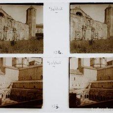 Fotografía antigua: POBLET - PROV. DE TARRAGONA, 1920'S. 2 CRISTALES POSITIVOS ESTEREO 10X4 CM.. Lote 238887745