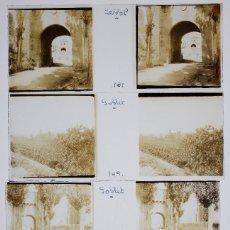 Fotografía antigua: POBLET - PROV. DE TARRAGONA, 1920'S. 4 CRISTALES POSITIVOS ESTEREO 10X4 CM.. Lote 238888070