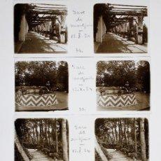 Fotografía antigua: MONTJUIC - BARCELONA, 12-10-1924. 7 CRISTALES ESTEREO POSITIVOS 10X4 CM.. Lote 239426755
