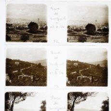 Fotografía antigua: MONTJUIC - BARCELONA, 12-10-1924. 5 CRISTALES ESTEREO POSITIVOS 10X4 CM.. Lote 239427155