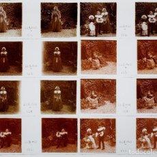 Fotografía antigua: RETRATOS DE NIÑOS DISFRAZADOS - 22 FEBRERO 1925. - 15 CRISTALES POSITIVOS ESTEREO 10X4 CM.. Lote 239471050