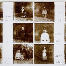 Fotografía antigua: NIÑOS DISFRAZADOS - 22 FEBRERO 1925. - 6 CRISTALES POSITIVOS ESTEREO 10X4 CM.. Lote 239471405