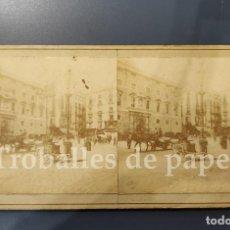Fotografía antigua: PLAÇA SANT JAUME - PALAU GENERALITAT - 1900 - BARCELONA - ESTEREOSCÒPICA - ANIMADA. Lote 243412645