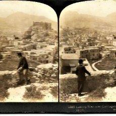 Fotografía antigua: FOTOGRAFIA ESTEREOSCOPICA DE CARTAGENA. 1903. PANORAMICA DESDE EL CERRO DE SAN JOSÉ.. Lote 244751125