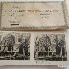 Fotografía antigua: 15 VISTAS ESTEREOSCÓPICAS DE ESPAÑA: MONASTERIO DE S. CUGAT , 2ª SERIE-COLECCIÓN Nº., 89- S/F.. Lote 251634540