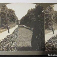 Fotografía antigua: 1 ESTEREOSCOPICA CARTON. DINAMARCA: IN THE PALACE GARDENS, ROYAL CASTLE FREDERIKSBORG,. Lote 261549960