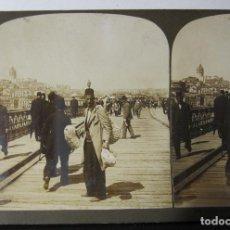 Fotografía antigua: 2 ESTEREOSCOPICAS CARTON. TURQUIA, PUENTE GALATA, ESTAMBUL.... Lote 261550245