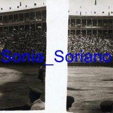 Fotografía antigua: VALENCIA. PLAZA DE TOROS , TORERO BELMONTE, AÑOS 20 - FOTOGRAFIA ESTEREOSCOPICA POSITIVO EN CRISTAL. Lote 261563200