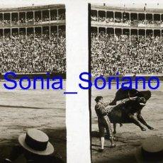 Fotografía antigua: VALENCIA. PLAZA DE TOROS , TORERO BELMONTE, AÑOS 20 - FOTOGRAFIA ESTEREOSCOPICA POSITIVO EN CRISTAL. Lote 261563455