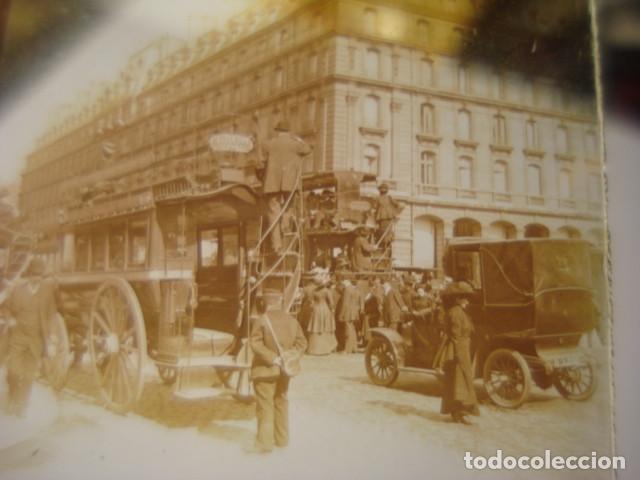 FRANCIA PARIS TRANVIAS DE CABALLOS CRISTAL ESTEREOSCOPICO AÑOS 1900 -MIRA OTROS EN VENTA (Fotografía Antigua - Estereoscópicas)