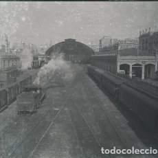 Fotografía antigua: VALENCIA ESTACION DEL NORTE NEGATIVO ESTEREOSCOPICO CELULOIDE 6 X 13 CM.. Lote 263104495