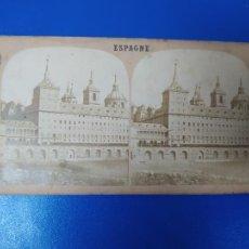 Fotografía antigua: ANTIGUA FOTOGRAFIA ESTEREOSCOPICA MONASTERIO SAN LORENZO DEL ESCORIAL MADRID. Lote 269714018