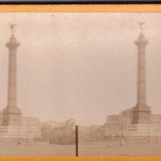 Fotografía antigua: ESTEREOSCOPICA ALBUMINA PARIS NOUVEAU. FOTÓGRAFO N. C. A PARIS. COLUMNA DE JULIO.. Lote 287925153