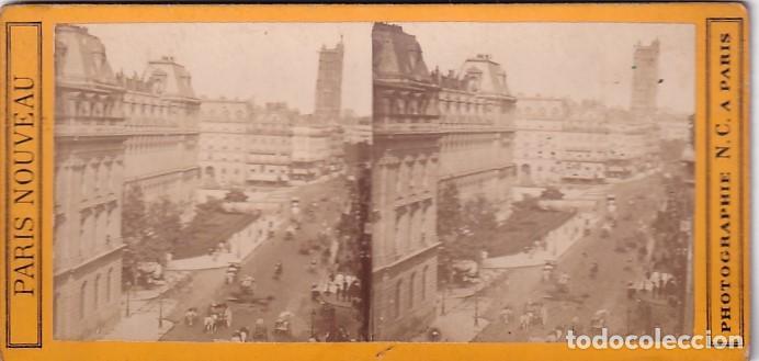 ESTEREOSCOPICA ALBUMINA PARIS NOUVEAU. FOTÓGRAFO N. C. A PARIS. CALLE DE RIVOLI (Fotografía Antigua - Estereoscópicas)