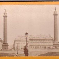 Fotografía antigua: ESTEREOSCOPICA ALBUMINA PARIS NOUVEAU. FOTÓGRAFO N. C. A PARIS. COLUMNA VENDOME. Lote 287927248