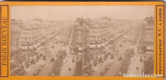 ESTEREOSCOPICA ALBUMINA PARIS NOUVEAU. FOTÓGRAFO N. C. A PARIS. GRANDES BOULEVARES (Fotografía Antigua - Estereoscópicas)