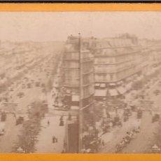 Fotografía antigua: ESTEREOSCOPICA ALBUMINA PARIS NOUVEAU. FOTÓGRAFO N. C. A PARIS. GRANDES BOULEVARES. Lote 287927378