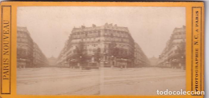 ESTEREOSCOPICA ALBUMINA PARIS NOUVEAU. FOTÓGRAFO N. C. A PARIS. AVENIDA OPERA (Fotografía Antigua - Estereoscópicas)