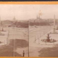 Fotografía antigua: ESTEREOSCOPICA ALBUMINA PARIS NOUVEAU. FOTÓGRAFO N. C. A PARIS. PLAZA DE LA CONCORDIA.. Lote 287927883
