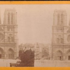 Fotografía antigua: ESTEREOSCOPICA ALBUMINA PARIS NOUVEAU. FOTÓGRAFO N. C. A PARIS. NOTRE DAME. Lote 287928913