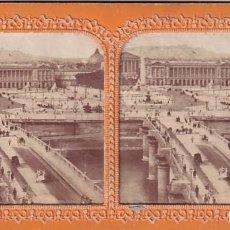 Fotografía antigua: ESTEREOSCOPICA ALBUMINA TISSUE O TRANSPARENTE PARIS PLAZA DE LA CONCORDIA... Lote 287929093