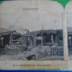 Fotografía antigua: (ES-190910)ESTEREOSCOPICA DE CARTAGENA-EN LA SIERRA MINERA.UN LAVAO. Lote 288506383