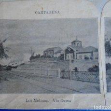 Fotografía antigua: (ES-190910 B)ESTEREOSCOPICA DE CARTAGENA-LOS MOLINOS.VIA FERRA. Lote 288506698