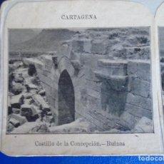 Fotografía antigua: (ES-190913)ESTEREOSCOPICA DE CARTAGENA-CASTILLO DE LA CONCEPCION.RUINAS. Lote 288507208