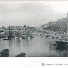 Fotografía antigua: HAUSER Y MENET, LAMINA FOTOGRAFICA DE MALAGA, VISTA DESDE EL PASEO DE LA FAROLA, 1890. Lote 26202920