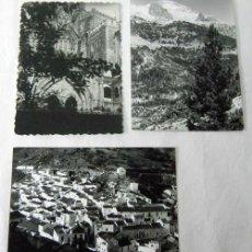 Fotografía antigua: 3 FOTOS BLANCO Y NEGRO PUEBLO BLANCO, CATEDRAL Y PAISAJE MONTAÑA. Lote 8821500