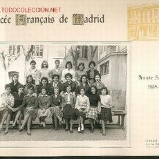 Fotografía antigua: TARJETON CON FOTOGRAFIA DEL LYCEE FRANCES DE MADRID CURSO 58,59. Lote 25539325