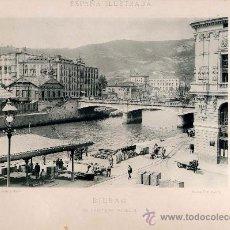 Fotografía antigua: LITOGRAFÍA HAUSER Y MENET. AÑO1890. BILBAO.- ELL PUENTE DE ISABEL II. Lote 13817098