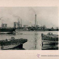 Fotografía antigua: LITOGRAFÍA HAUSER Y MENET. AÑO1890. BILBAO.- LOS ALTOS HORNOS DE DESIERTO. Lote 13817138