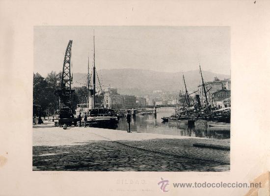 LITOGRAFÍA HAUSER Y MENET. AÑO1890. BILBAO.- EL MUELLE DEL ARENAL (Fotografía Antigua - Fotomecánica)