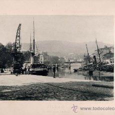 Fotografía antigua: LITOGRAFÍA HAUSER Y MENET. AÑO1890. BILBAO.- EL MUELLE DEL ARENAL. Lote 13817221