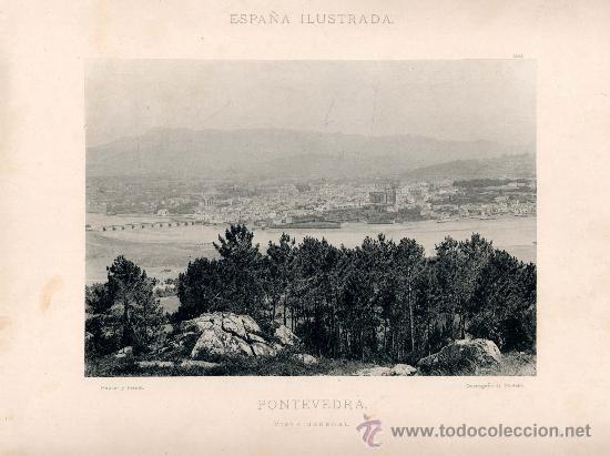 LITOGRAFÍA HAUSER Y MENET. AÑO1890. PONTEVEDRA.- VISTA GENERAL (Fotografía Antigua - Fotomecánica)