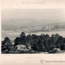 Fotografía antigua: LITOGRAFÍA HAUSER Y MENET. AÑO1890. PONTEVEDRA.- VISTA GENERAL. Lote 13818288