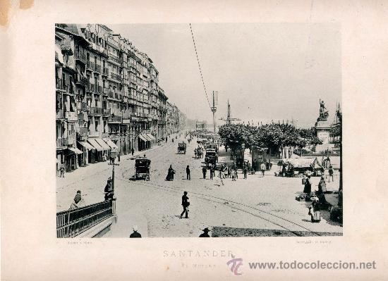 LITOGRAFÍA HAUSER Y MENET. AÑO1890. SANTANDER.- EL MUELLE (Fotografía Antigua - Fotomecánica)