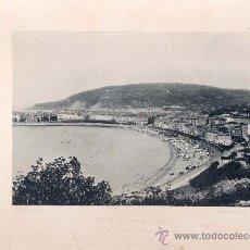 Fotografía antigua: LITOGRAFÍA HAUSER Y MENET. AÑO1891. SAN SEBASTIÁN.- LA CONCHA DESDE EL MOLINO DE VIENTO. Lote 13818818