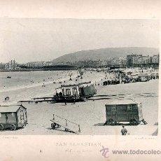 Fotografía antigua: LITOGRAFÍA HAUSER Y MENET. AÑO1890. SAN SEBASTIÁN.- PLAYA DE BAÑOS. Lote 13818923