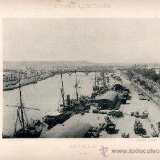 Fotografía antigua: LITOGRAFÍA HAUSER Y MENET. AÑO1891. SEVILLA.- EL MUELLE. Lote 13819058
