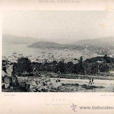 Fotografía antigua: LITOGRAFÍA HAUSER Y MENET. AÑO1890. VIGO.- VISTA DESDE EL CASTILLO. Lote 13819251