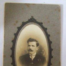 Fotografía antigua: FOTO RELAMPAGO MONTEVIDEO,HOMBRE, CARTON DURO. MAN, PHOTO CARTON DUR. HARD CARDBOARD. Lote 26734301