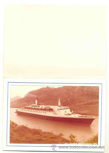 3 – FOTOS BARCO QUEEN ELIZABETH 2 -- PASANDO EL PASO DE PANAMÁ 1975 (Fotografía Antigua - Fotomecánica)