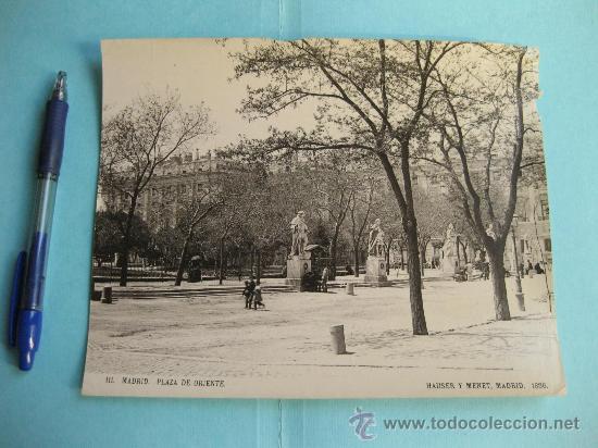 FOTOGRAFIA IMPRESA HAUSER Y MENET 1896 - 111 MADRID - PLAZA DE ORIENTE (Fotografía Antigua - Fotomecánica)